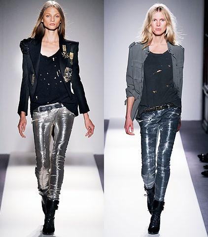 colanti pantaloni metalici